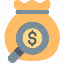 bag, finance, find, investment, magnifier, money, search icon