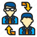 business, communication, connection, employee, workers icon