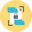 money, padlock, secure, transaction, transfer icon