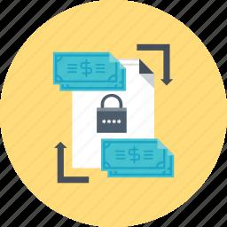 money, padlock, secure, transaction, transfer icon