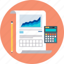 accounting, calculator, chart, invoice, pen, report, statistics icon
