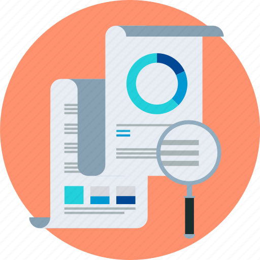 chart, magnifier, reports, statistics icon
