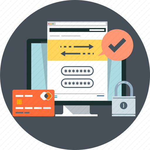 computer, confirm, credit card, internet banking, pad lock, secure, transaction icon