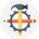 development, gear, hammer, pen, settings icon
