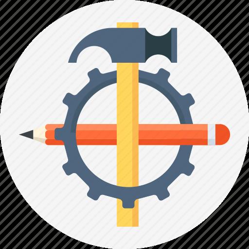 development, gear, hammer, pen, settings icon