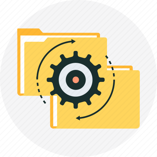 cog, file, gear, synchronization, work icon