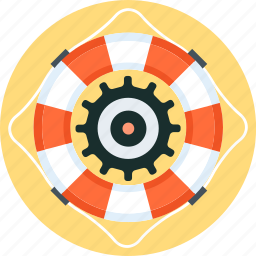 buoy, gear, insurance, life, secure, support icon