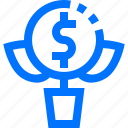 business, coin, finance, growth, money, plant, up icon