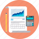 accounting, calculate, calculator, chart, growth, reports, statistics icon