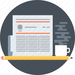 coffee, learn, news, newspaper, pen, report icon
