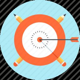 arrow, bulls eye, learn, pen, target icon