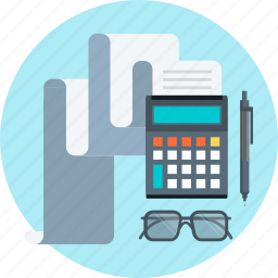 accounting, bill, calculator, glasses, invoice, pen icon