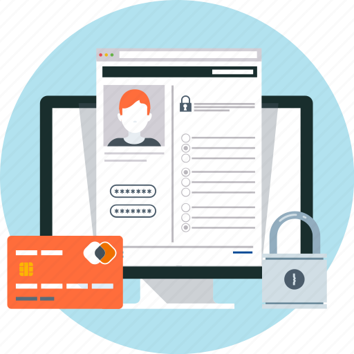computer, credit card, internet, pad lock, profile, security icon