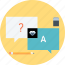 answer, eraiser, pen, question, questions and answers, speech bubble icon