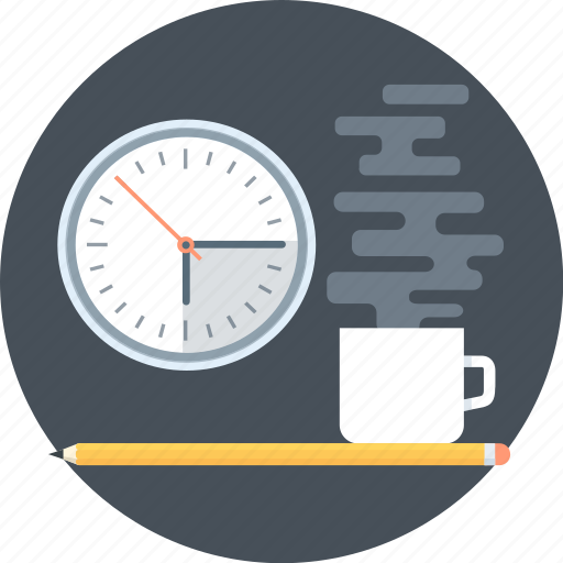 break, coffee, dead line, office, pen, time, work icon