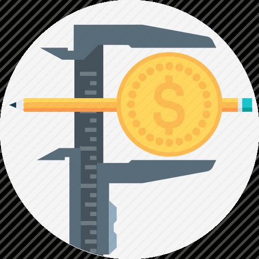 budget, caliper, expense, income, measure, money, screen icon