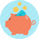 bank, funding, pig, piggy bank, put away, save icon
