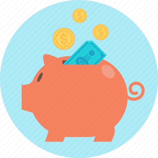 bank, funding, guardar, pig, piggy bank, put away, save icon