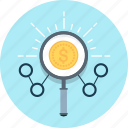 expense, find, income, magnifier, management, money icon