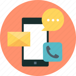 call, callmessage, chat, email, mail, mobile, phone icon