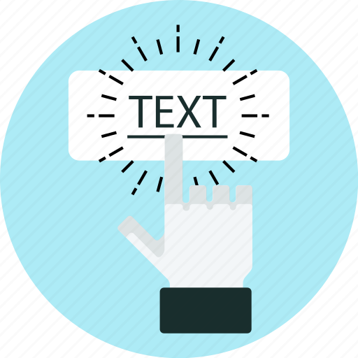 anchor text, click, finger, hand, link, text, touch icon