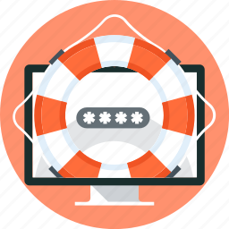 buoy, computer, insurance, life, password, screen, security icon
