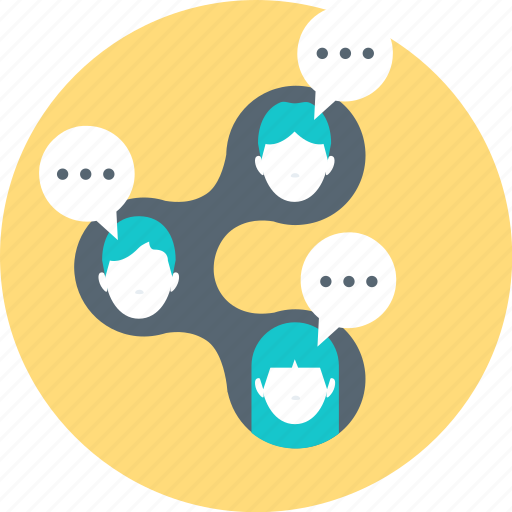 chat, connection, networking, people, share, social icon