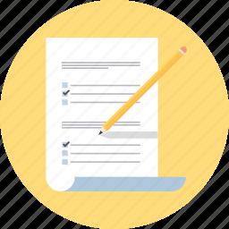 confirm, survey, test, write icon