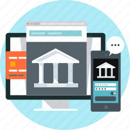 bank, banking, credit card, internet, mobile, online, phone icon