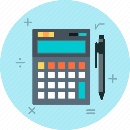accounting, calculate, calculator, pen, pencil icon
