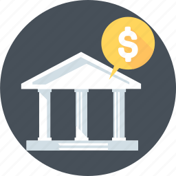 account, bank, banking, building, historical, old icon