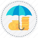 coin, earn, insurance, money, protect, secure, umbrella icon