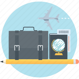 business, international business, passport, pen, plane, suitcase, travel icon