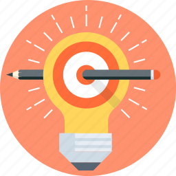 creative, find, idea, lamp, pen, solution, target icon