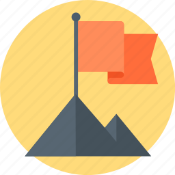 flag, mountain, success, target icon