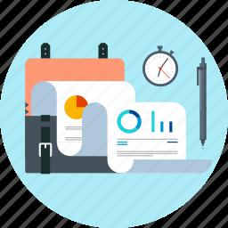 accounting, business, deadline, portfolio, statistics, suitcase icon