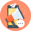 marketting, megaphone, mobile, paper plane, phone, promotion icon