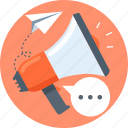 marketting, paper plane, promotion, speech bubble icon