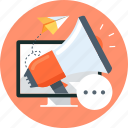 computer, fly, marketting, megaphone, paper plane, promotion, speech bubble icon