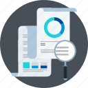 accounting, magnifier, reports, statistics, study icon