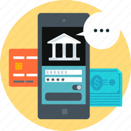 bank, banking, internet, mobile, online, payment, phone icon