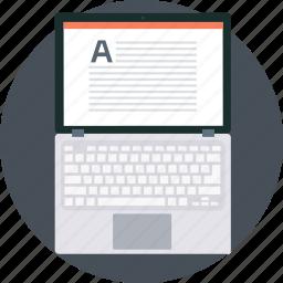 book, copy, laptop, note, type, writer, writing icon