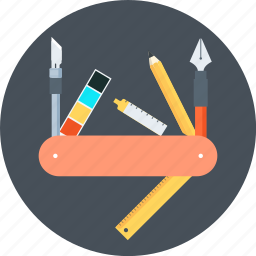 branding, design, graphics, knife, multi, pen, tools icon