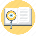 search, eye, faq, investigate, book, learn, magnifier
