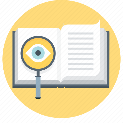 book, eye, faq, investigate, learn, magnifier, search icon