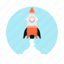 business, fly, rocket, space, start up icon