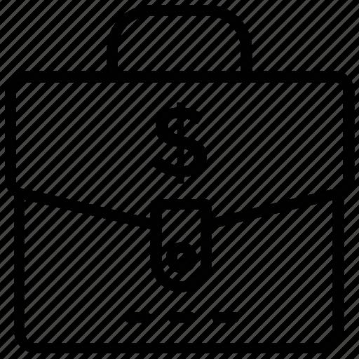 business case, cash bag, cash briefcase, cash case, dollar briefcase icon