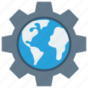gears, globe, optimization, options, preferences, setting, settings, system icon icon