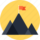 mountain, marketing, goal, chart, mission, flag, success, achievement