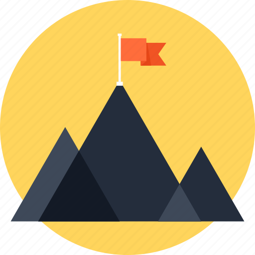 achievement, chart, flag, goal, marketing, mission, mountain, success icon